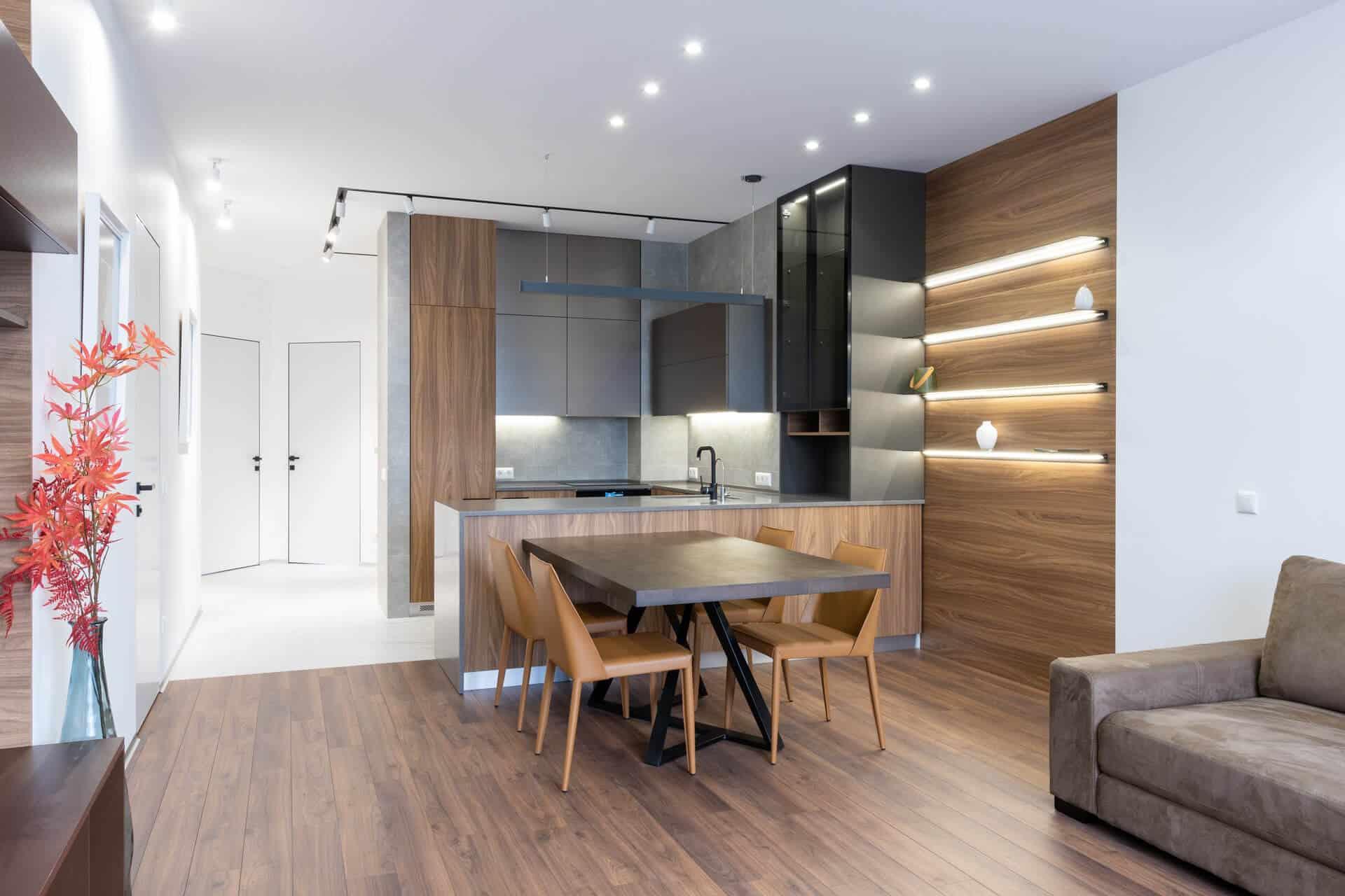 Изграждане на осветлението в кухнята и пространството около нея